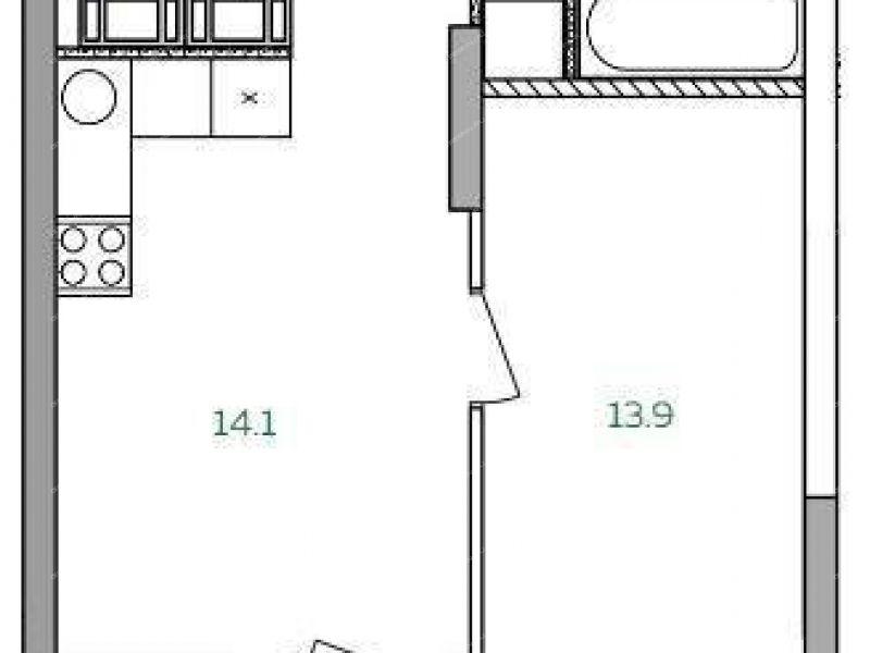 однокомнатная квартира в новостройке на Русская ул., 15 стр деревня Анкудиновка