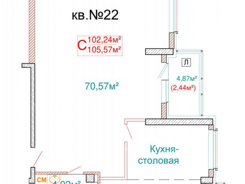 трёхкомнатная квартира в новостройке на улице Ленина город Бор